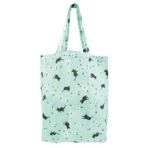 ネコ エコバッグ 【小サイズ】  猫 和柄ショッピングエコバッグ くろちく 即納 定形外郵便で送料無料|kireinina-re