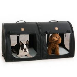 ポータブル・ケージ ダブル オールブラック PTOF2109021(ペット用のキャリーケース/折りたたみケージ/猫/小型犬/ペットハウス) kireispot