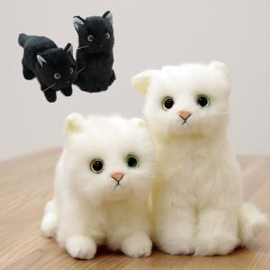 即納 日本製リアル 猫のぬいぐるみ 子猫26cm(可愛い/ねこ/かわいい表情/毛並み/本物そっくり/猫の人形)【無料ラッピング対応可】