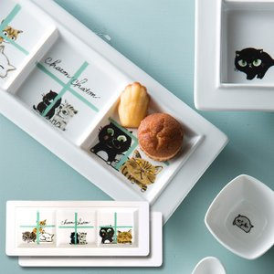 Chaton Chaton シャトンシャトン 仕切りプレート 74202《2個セット》(磁器/プレート皿/3つの仕切り/小分け/スクエア型/ネコ柄/かわいい/仕切り皿)|kireispot
