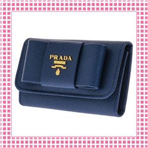 プラダ PRADA キーケース リボンモチーフ SAFFIANO FIOCCO-1PG222-ダークブルー/BLUETTE kireiyasan