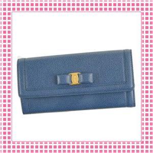 フェラガモ FERRAGAMO 二つ折り長財布 リボンチャーム MISS VARA BOW-22C870-ブルー/BLU STONE|kireiyasan