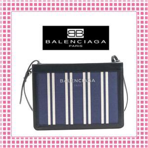 バレンシアガ BALENCIAGA カバスストライプ ショルダーバッグ-339937-ブルー/ホワイト/ブラック|kireiyasan