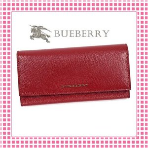 バーバリー BURBERRY 二つ折り長財布 レディース ロンドンレザーPORTER-3975040-レッド/MILITARY RED|kireiyasan