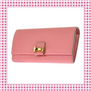 クロエ CHLOE 二つ折り長財布 仔羊革 リボンチャームBOBBIE-3P0666-ピンク/PINK|kireiyasan