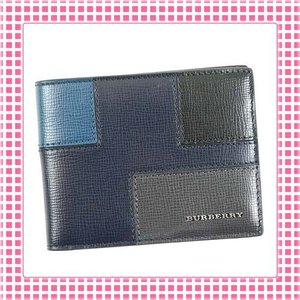 バーバリー BURBERRY コンパクト 二つ折り財布 パッチワーク ロンドンレザーHIPFOLD-4022576-ネイビー/マルチカラー|kireiyasan