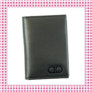 フェラガモ FERRAGAMO カードケース ガンチョロゴ GANCIO COLOR-660737-ブラック/内側ライトブラウン kireiyasan