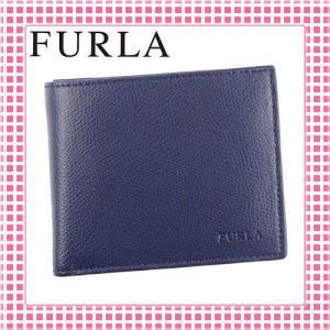 フルラ FURLA 二つ折り財布 サラサラ手触り MAN APOLLO-827045-PQ37-ネイビー/NAVY|kireiyasan
