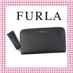 フルラ ラウンドファスナー長財布 滑らかカーフ フリンジチャーム EMMA-851473-PQ99-ブラック/ONYX|kireiyasan