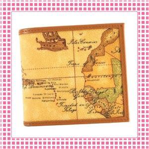 プリマクラッセ PRIMACLASSE コンパクト二つ折り財布 地図柄 GEO CLASSIC BVW103-キャメル ブラウン|kireiyasan