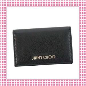 ジミーチュウ JIMMY CHOO カードケース 滑らか 山羊革レザーGOAT LEATHER-NELLO-ブラック/BLACK|kireiyasan