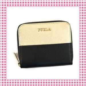 フルラ FURLA ラウンドファスナー二つ折り財布 バイカラーBABYLON-PN51-ゴールド/ブラック|kireiyasan
