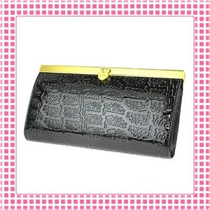 フォリフォリ FolliFollie 長財布 カラバリ4色 がま口タイプ ロゴ型押し-WA0L028S-ブラック(黒)|kireiyasan