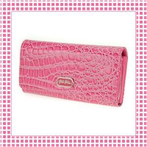 フォリフォリ FolliFollie 二つ折り長財布 カラバリ4色 クロコ型押し-WA1P028WF-ショッキングピンク|kireiyasan
