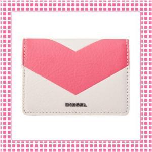 ディーゼル DIESEL カードケース レディース カーフレザーGRANATO-X03697-ピンク/ホワイト|kireiyasan
