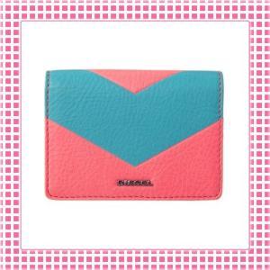ディーゼル DIESEL カードケース レディース カーフレザーGRANATO-X03697-ピンク/ブルー|kireiyasan
