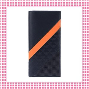 アルマーニ EMPORIO ARMANI カラバリ3色 二つ折り長財布 MINORCA STRIPES SPECIAL-YEM474-ネイビー/オレンジストライプ kireiyasan