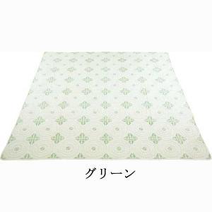 光沢のある刺繍が綺麗なキルト アクワー 200×200cm キルトマルチカバー 正方形(約2畳サイズ)  ホットカーペットカバー こたつの上掛けにも◎ kirikiri 02
