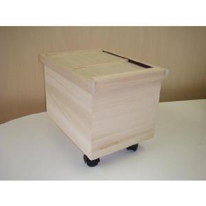 桐製米びつ 20kg(三角コーナー付・キャスター付)|kirikougei01