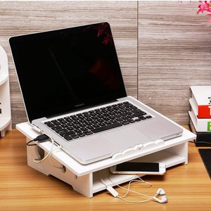 ノートパソコンスタンド 机上収納 放熱対策 通気性よい 彫り テーブルの上に コンセント収納 線が通る穴 多用 ホワイト (AタイプLサイズ|kirincompany