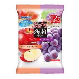 オリヒロ ぷるんと蒟蒻ゼリーパウチ アップル+グレープ 12粒|kirindo