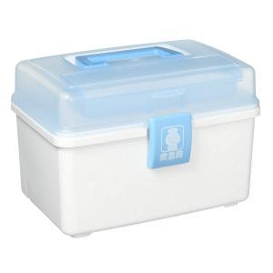 アイリスオーヤマ 救急箱外傷薬用 クリアブルー/ホワイト QB-180