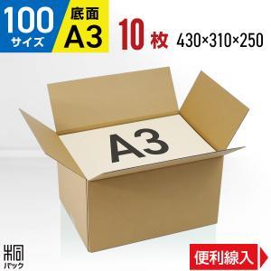 ダンボール箱100サイズA3(段ボール箱)10枚 便利線入り(外寸:430×310×250mm)(3ミリ厚)