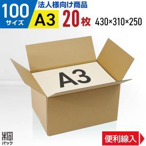 ダンボール箱100サイズA3(段ボール箱)20枚 便利線入り(外寸:430×310×250mm)(3ミリ厚)