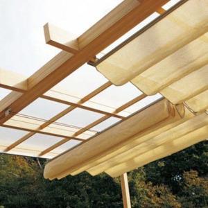 タカショー ポーチテラス オプションアイテム ロープ式開閉シェード 1間×9尺 サンドストーン|kiro