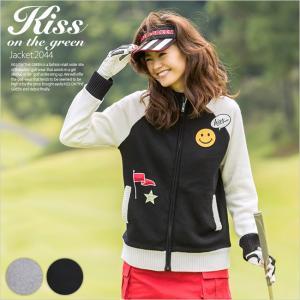 ニコちゃんワッペンニットジャケット/ゴルフ ウェア レディース 女性用|kissonthegreen