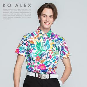 これからの季節にぴったりなボタニカル柄がプリントされた半袖ポロシャツ。 さらっと涼し気で高い接触冷感...