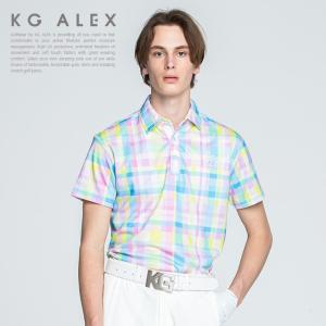 明るく爽やかな印象のチェック柄プリント半袖ポロシャツ。 さらっと涼し気で高い接触冷感機能をもつ鹿の子...
