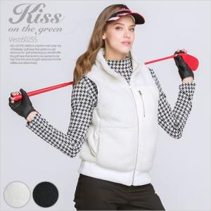 ボア切り替えリバーシブルベスト/ゴルフ ウェア レディース 女性用|kissonthegreen