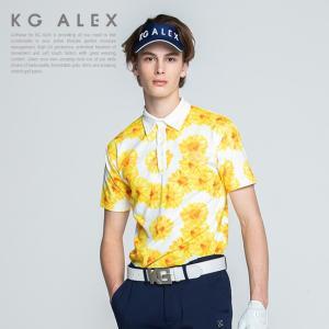 61e5a6951b8e2 ゴルフウェア メンズ KG-ALEX ひまわり柄半袖ポロシャツ 吸水速乾 UV加工 接触冷感 M-L ( ゴルフウェア メンズ 半袖 ポロ )  メンズウェア