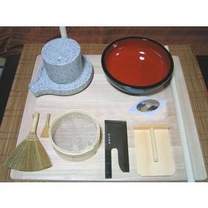 L型 蕎麦打ち道具・御影石ひき臼セット|kissui