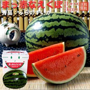 まっ赤なえくぼ(ふらの特産楕円形スイカ) 秀品 7kg以上×1玉 (北海道富良野産すいか) 縞皮西瓜 送料無料|kissui