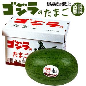 ゴジラのたまご 秀品 6kg以上×1玉 (月形町特産楕円形スイカ) 北海道産すいか 網皮西瓜 送料無料|kissui
