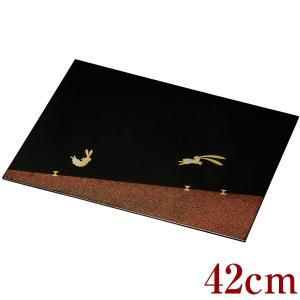 お盆 トレー 木製 長角膳 乾漆うさぎ 42cm|kisyukirakuya