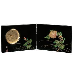 屏風時計 紀の花 木製 置時計|kisyukirakuya