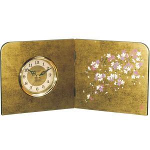 屏風時計 金箔貼り しだれ桜 木製 置時計|kisyukirakuya