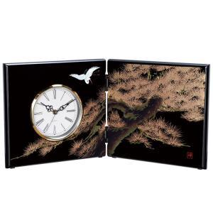 屏風時計 黒 飛祥 木製 置時計|kisyukirakuya