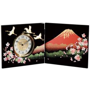 屏風時計 一富士二桜三羽鶴 木製 置時計|kisyukirakuya
