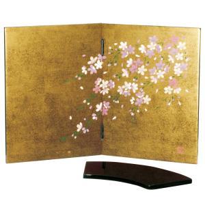 木製 金箔貼 姫屏風 しだれ桜 花台付|kisyukirakuya