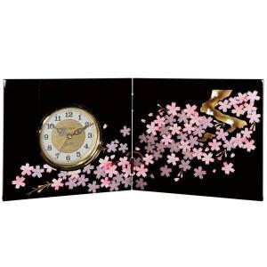 屏風時計 黒 雅桜 木製 置時計|kisyukirakuya