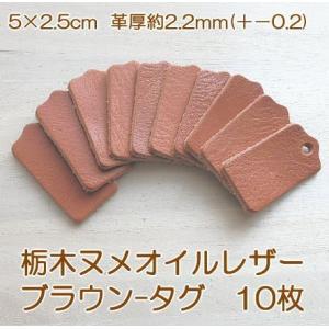 5×2.5cmブラウン栃木オイルヌメ革タグ10枚無地 革厚2.2mm前後/オリジナル名札・ドッグタグ kitaebisu