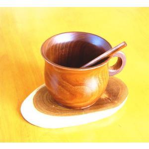 木製 コーヒーカップ ソーサー スプーン 付き 【エンジュの木】