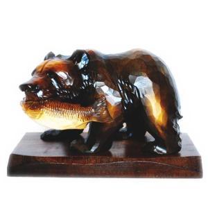 北海道お土産で有名な木彫りの熊の置物です。 置き台つきになります。 配送先が沖縄など一部離島の場合、...