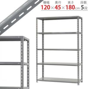 スチールラック スチール棚 業務用 収納 力量-2 幅120×奥行45×高さ180cm 5段 グレー ベイジュ|kitajimasteel
