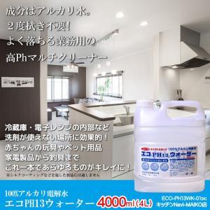 キッチンクリーナー 除菌剤 アルカリ電解水 業務用 油落とし  水拭きだけで除菌と消臭 エコPH13...