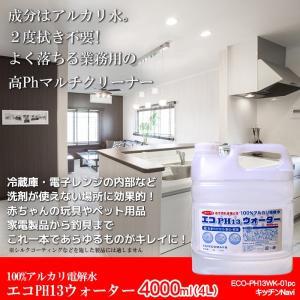 アルカリ電解水 業務用 油落とし キッチンクリーナー ガラスクリーナー 水拭きだけで除菌と消臭 エコPH13ウォーター 4000ml kitchen-navi